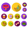 pet dog flat icons in set collection for design vector image