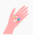 pharmacy concept pills and tablet on human hand vector image vector image