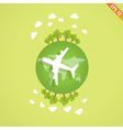 Plane over the earth for travel concept vector image