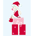 rabbit - santa claus with gifts vector image vector image