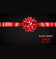 red bow with horizontal ribbon and inscription vector image vector image