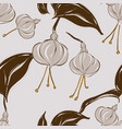 seamless pastel grey floral pattern with foliage vector image vector image