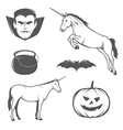 set halloween characters and design elements vector image