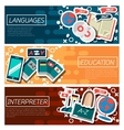 Set of Horizontal Banners about Languages vector image