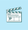 simple clapper board icon in flat style the vector image vector image