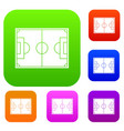 soccer field set color collection vector image vector image