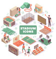 stadium icons round composition vector image vector image