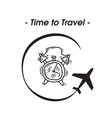 time to travel plane alarm clock background vector image vector image