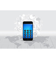 Touchscreen device with cloud of application icons vector image vector image