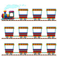 train and many carts on track vector image vector image