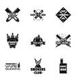 vape shop logo set simple style vector image vector image