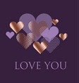 violet and rose gold heart vector image vector image