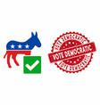 vote democratic icon with grunge vote democratic vector image vector image