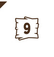 wooden alphabet blocks with number 9 in wood vector image vector image