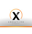 x letter logo design with black orange color cool vector image vector image