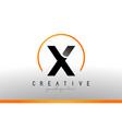 x letter logo design with black orange color cool vector image