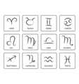 monochrome icon set with zodiac symbols vector image