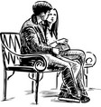 a couple young townspeople sitting on a park vector image vector image