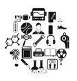 academy icons set simple style vector image vector image