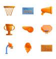 basketball team icon set cartoon style vector image vector image