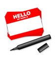 blank template tag my name is red color blank vector image vector image
