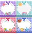 border template with baby theme in four colors vector image vector image