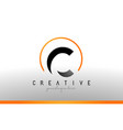c letter logo design with black orange color cool vector image vector image