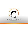 c letter logo design with black orange color cool vector image