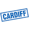 Cardiff blue square grunge stamp on white vector image vector image