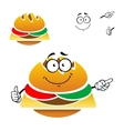 Cartoon tasty fast food cheeseburger vector image vector image