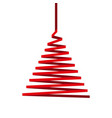 christmas tree made of red ribbon isolated on whit vector image vector image