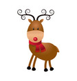 cute cartoon deer horns scarf christmas image vector image