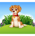 Cute dog sitting on the meadow background vector image vector image