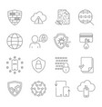 data protection icons line icons set vector image vector image