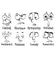 different expressions on human face with words vector image vector image