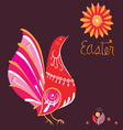 Easter poster with bird in national style vector image