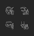 face care chalk white icons set on black vector image vector image