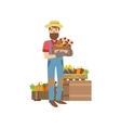 Farmer With Beard Holding Wooden Crate Vegetables vector image vector image