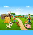 farming activities on farms with animals in front vector image