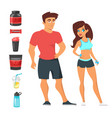fitness man and woman athletes vector image