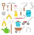 Flat design farmer tools set vector image vector image