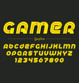 gamer decorative italic font design vector image vector image