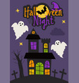 halloween night card design with castle and ghosts vector image