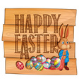 Happy Easter with bunny and eggs vector image vector image