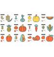 healthy food line icon set vector image vector image