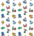 Isolated marine and fishing seamless pattern vector image vector image