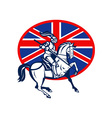 Knight on horse with lance and British flag vector image vector image