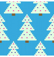 knitted white christmas tree pattern blue vector image vector image