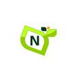 leaf initial n logo design template vector image vector image