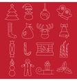 line craft icons set christmas theme vector image
